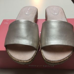 NIB EASY SPIRIT SLIDES CORK HEELS SIZE 6M